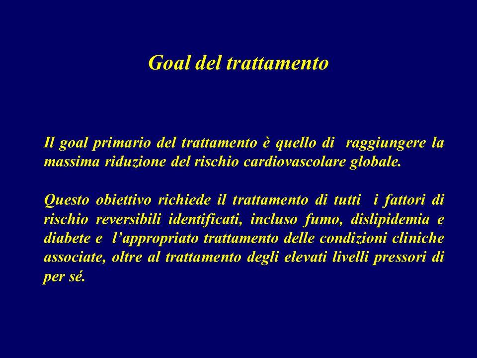 Goal del trattamento Il goal primario del trattamento è quello di raggiungere la massima riduzione del rischio cardiovascolare globale.