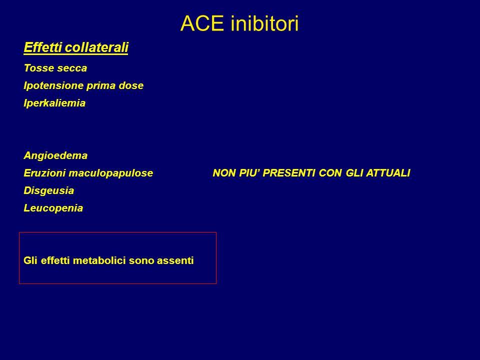 ACE inibitori Effetti collaterali Tosse secca Ipotensione prima dose