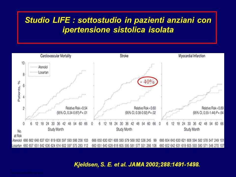 Studio LIFE : sottostudio in pazienti anziani con ipertensione sistolica isolata
