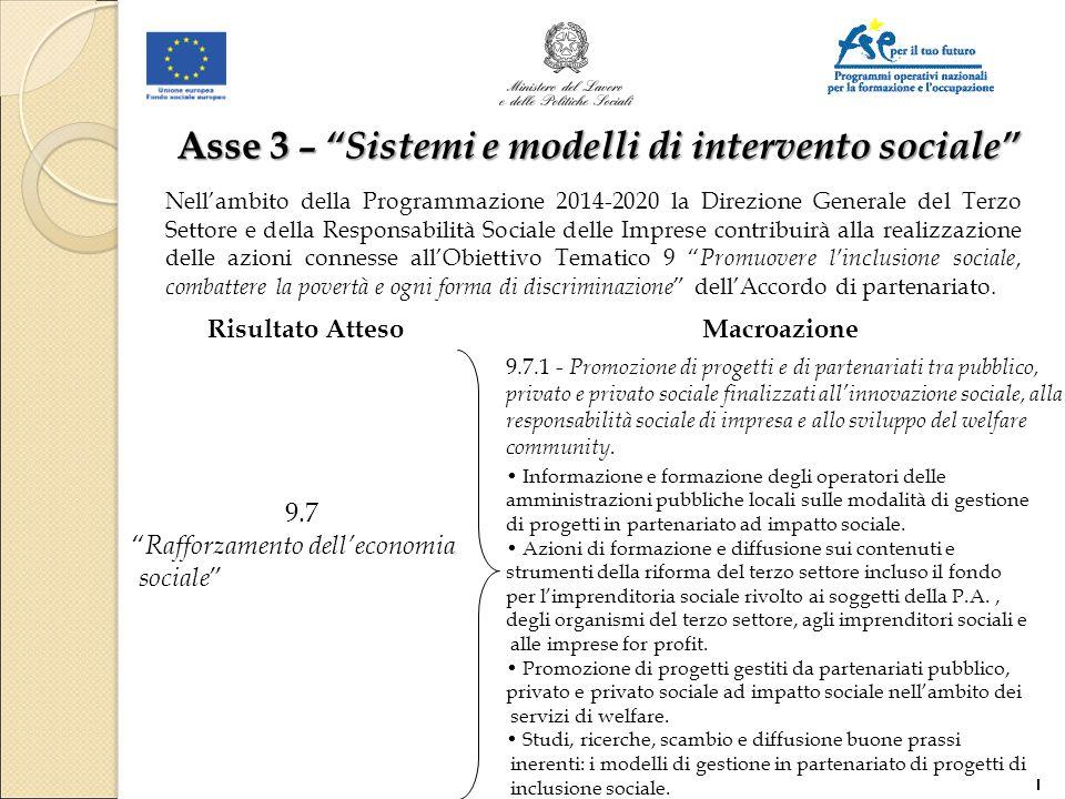 Asse 3 – Sistemi e modelli di intervento sociale