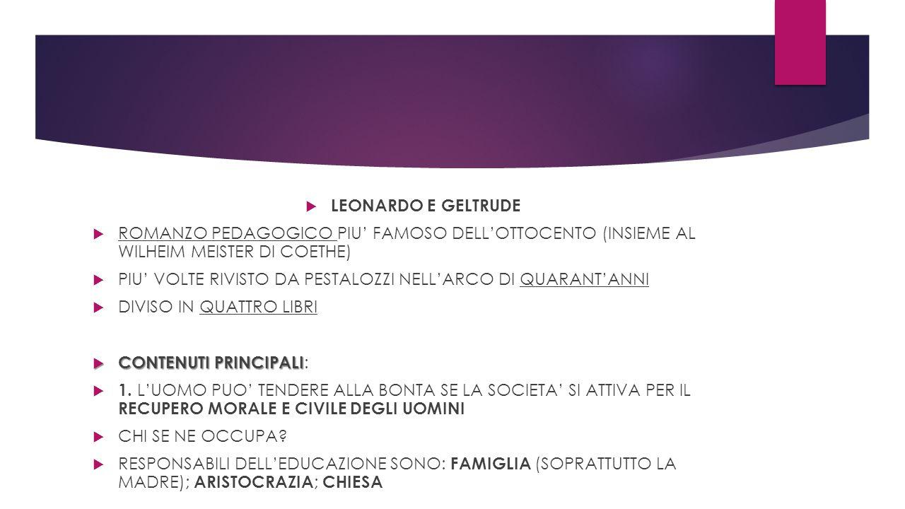 LEONARDO E GELTRUDE ROMANZO PEDAGOGICO PIU' FAMOSO DELL'OTTOCENTO (INSIEME AL WILHEIM MEISTER DI COETHE)