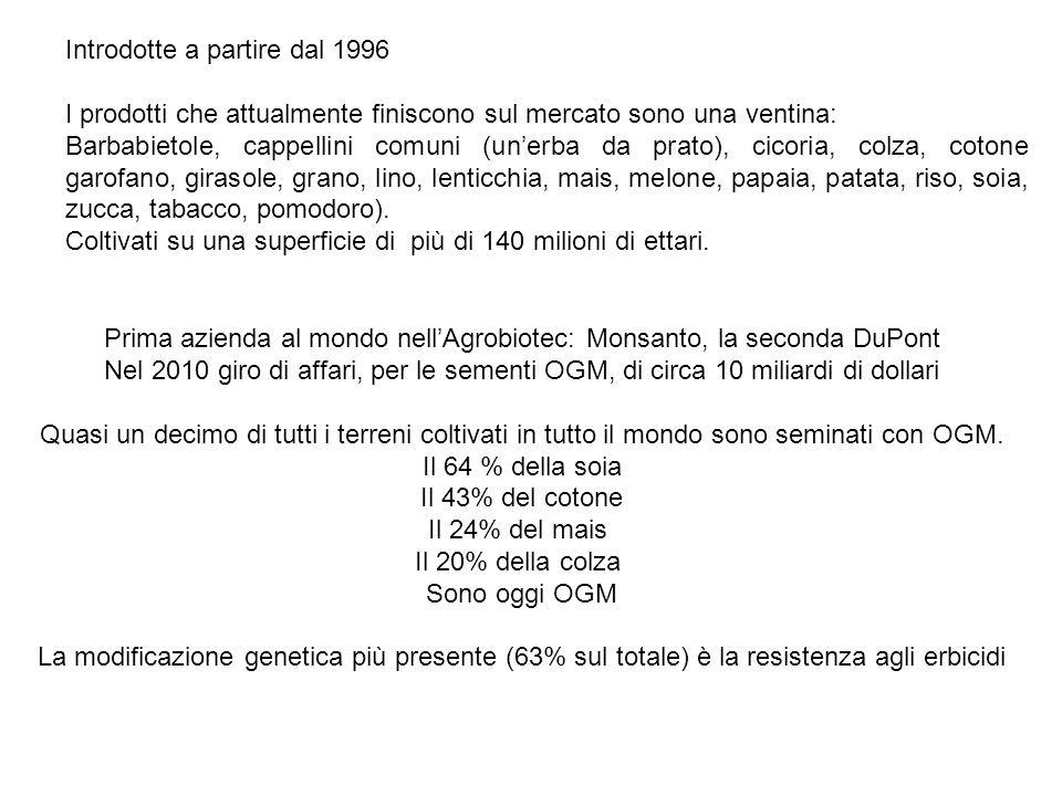 Prima azienda al mondo nell'Agrobiotec: Monsanto, la seconda DuPont