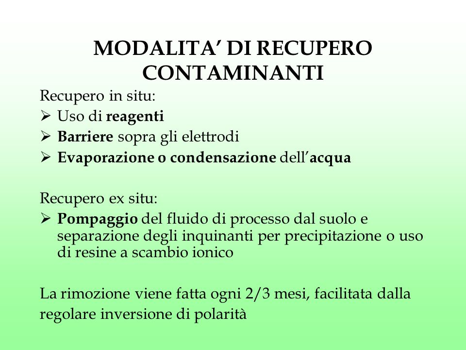 MODALITA' DI RECUPERO CONTAMINANTI