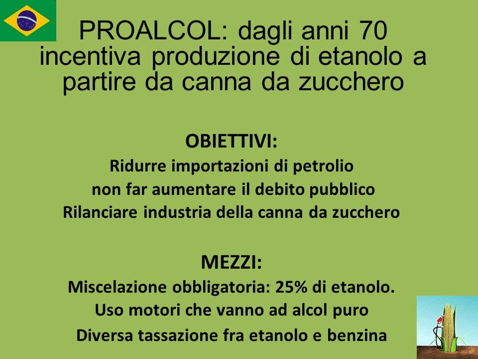 PROALCOL: dagli anni 70 incentiva produzione di etanolo a partire da canna da zucchero
