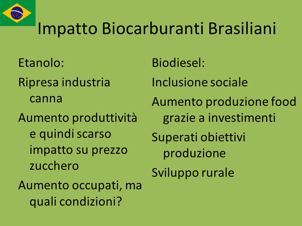 Impatto Biocarburanti Brasiliani