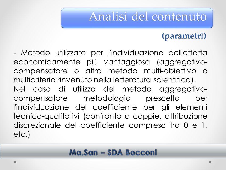 Analisi del contenuto (parametri)