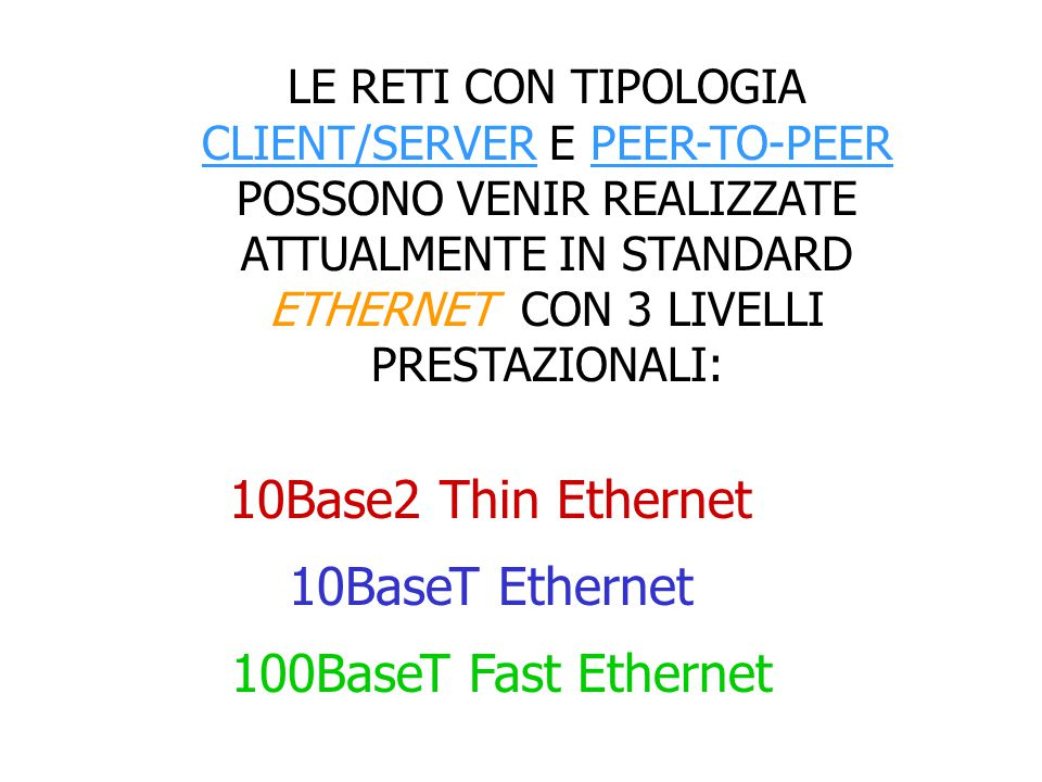 10Base2 Thin Ethernet 10BaseT Ethernet 100BaseT Fast Ethernet