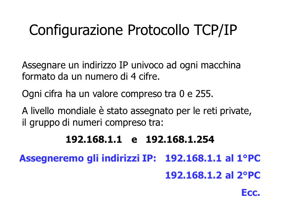 Configurazione Protocollo TCP/IP