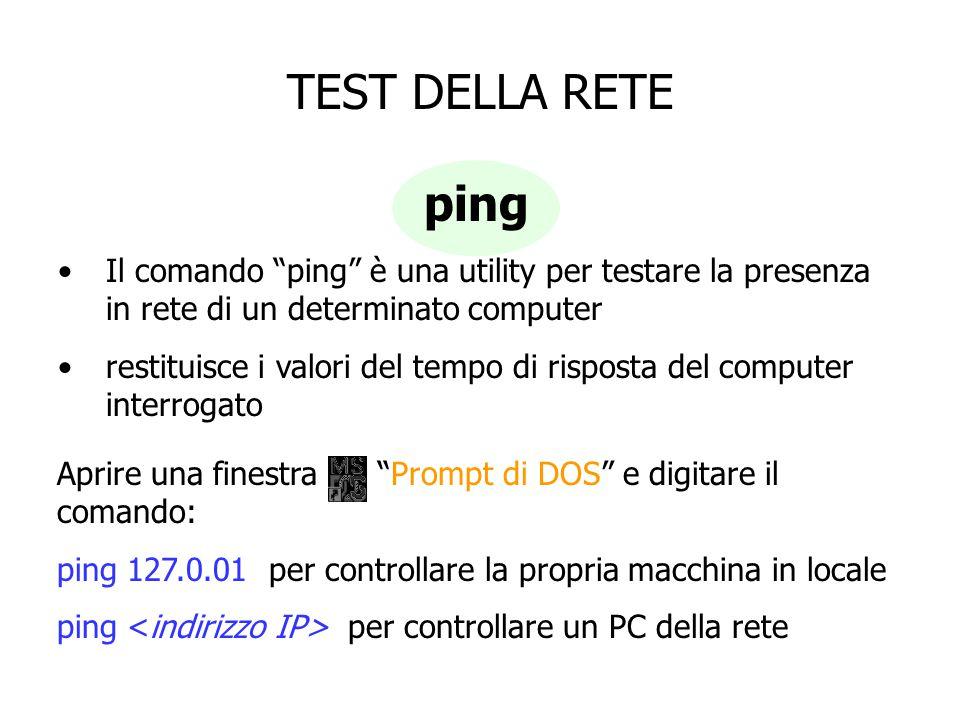 TEST DELLA RETE ping. Il comando ping è una utility per testare la presenza in rete di un determinato computer.