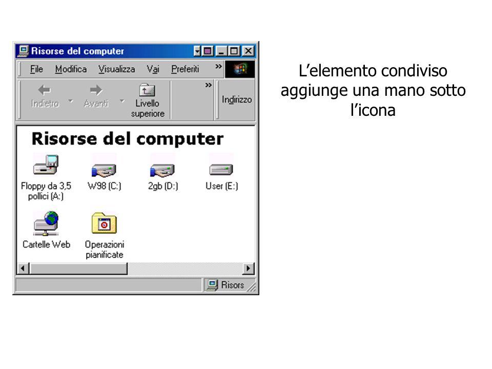L'elemento condiviso aggiunge una mano sotto l'icona