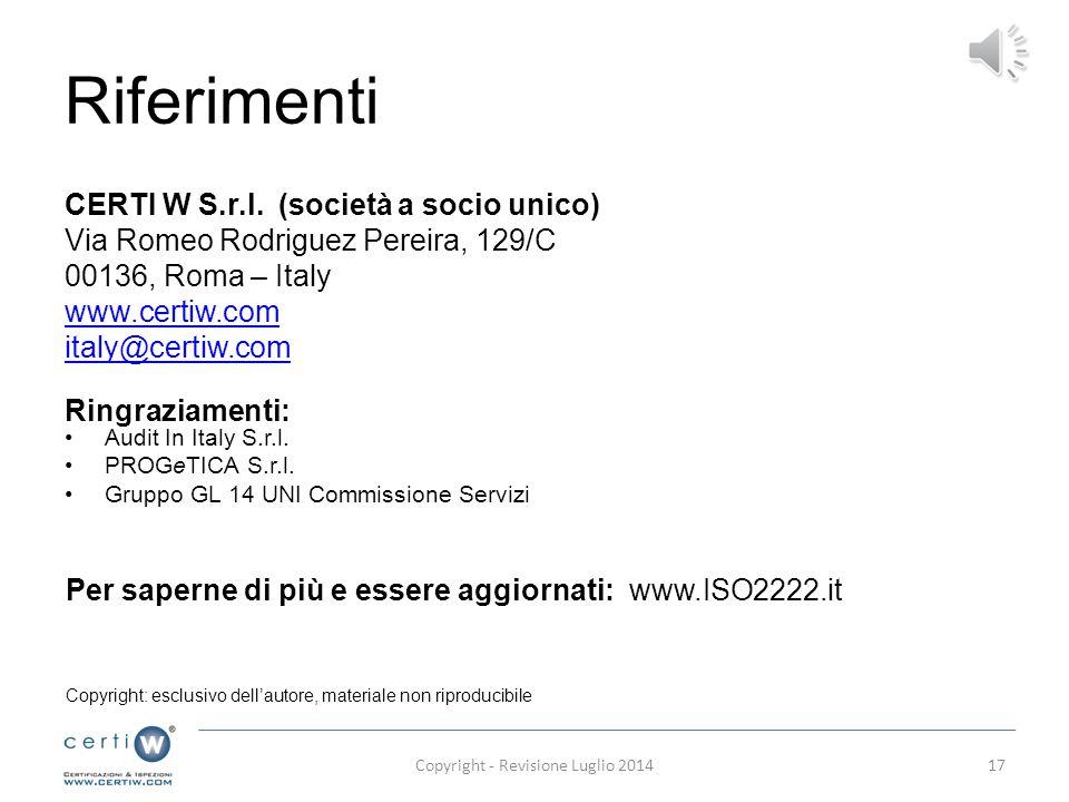 Copyright - Revisione Luglio 2014