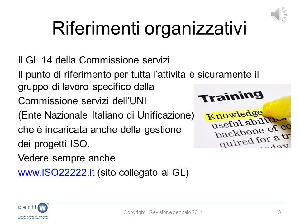 Riferimenti organizzativi