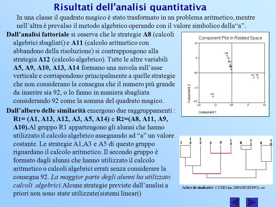 Risultati dell'analisi quantitativa