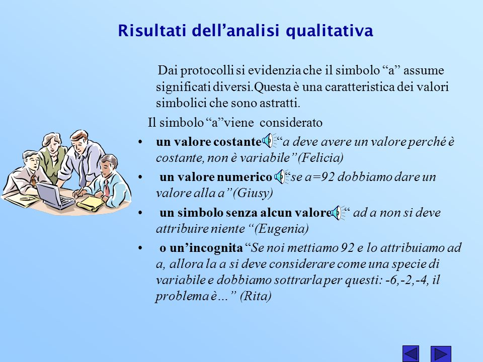 Risultati dell'analisi qualitativa