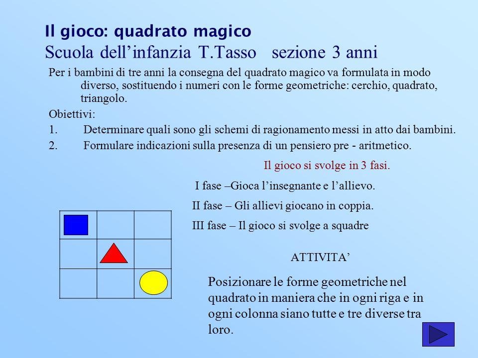 Il gioco: quadrato magico Scuola dell'infanzia T.Tasso sezione 3 anni