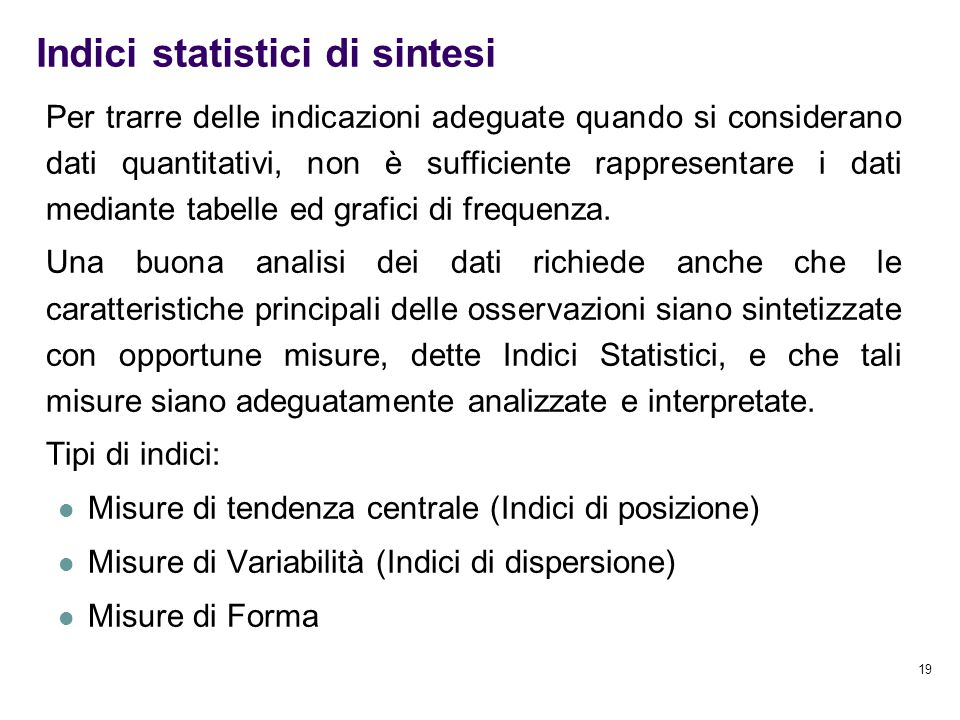 Indici statistici di sintesi