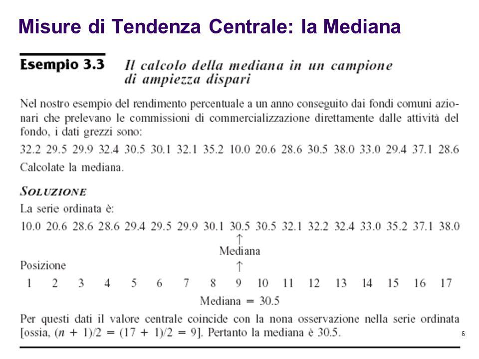 Misure di Tendenza Centrale: la Mediana