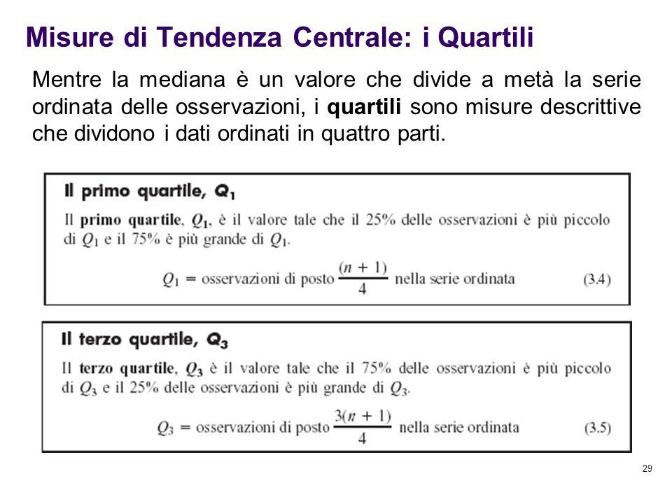 Misure di Tendenza Centrale: i Quartili