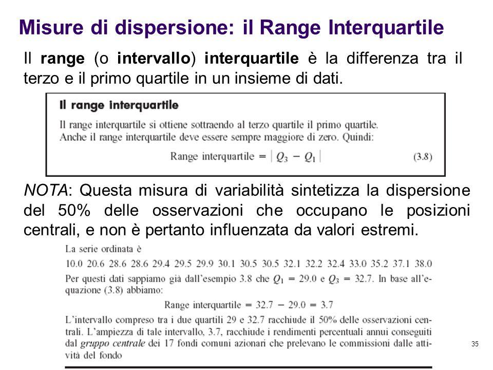 Misure di dispersione: il Range Interquartile