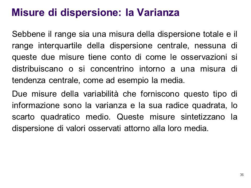 Misure di dispersione: la Varianza