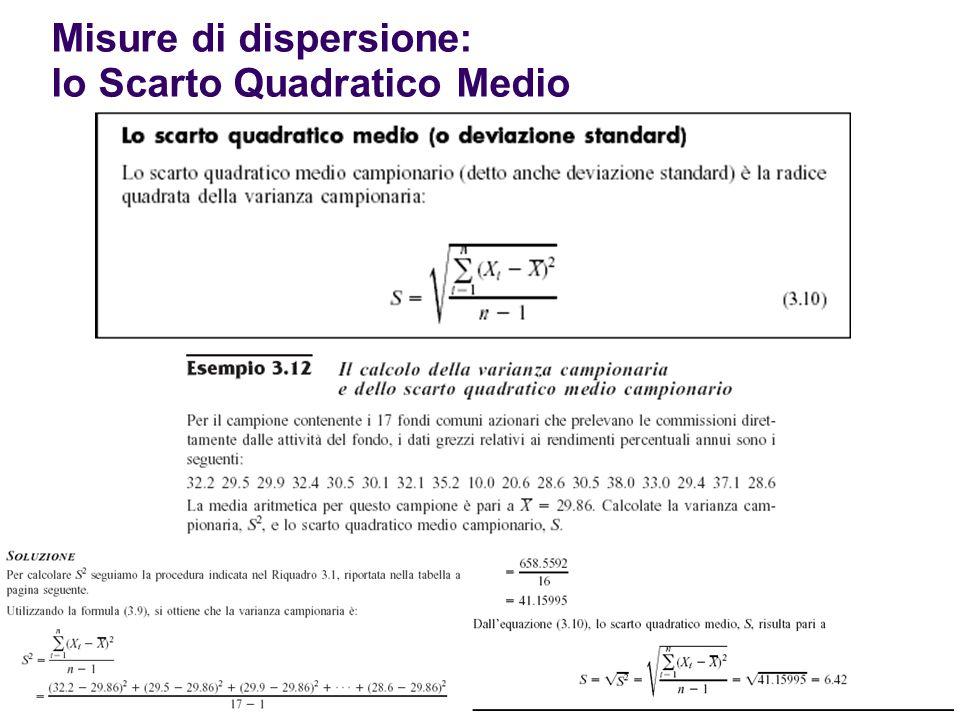 Misure di dispersione: lo Scarto Quadratico Medio