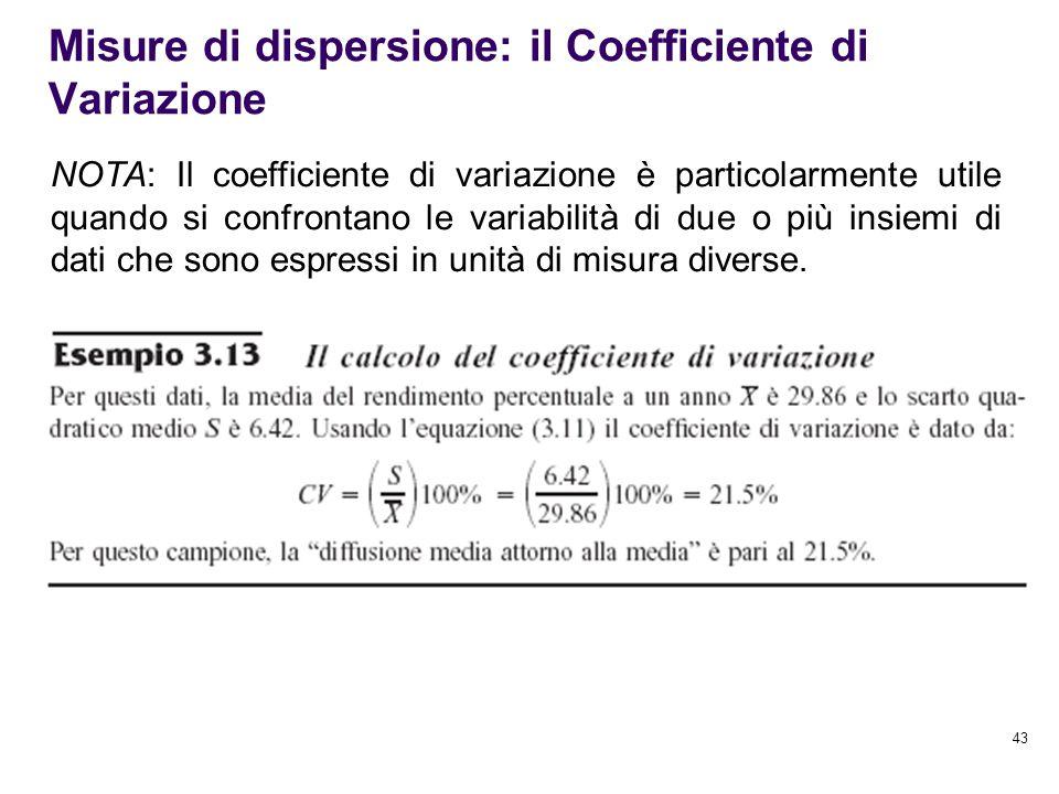 Misure di dispersione: il Coefficiente di Variazione