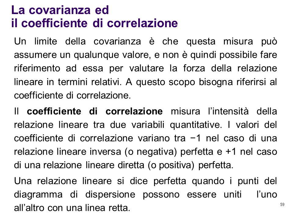 La covarianza ed il coefficiente di correlazione