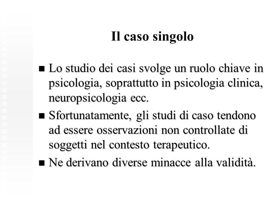 Il caso singolo Lo studio dei casi svolge un ruolo chiave in psicologia, soprattutto in psicologia clinica, neuropsicologia ecc.