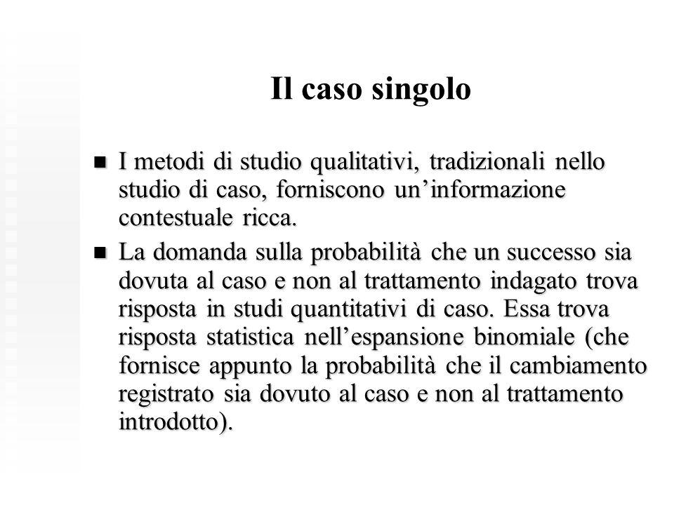 Il caso singolo I metodi di studio qualitativi, tradizionali nello studio di caso, forniscono un'informazione contestuale ricca.