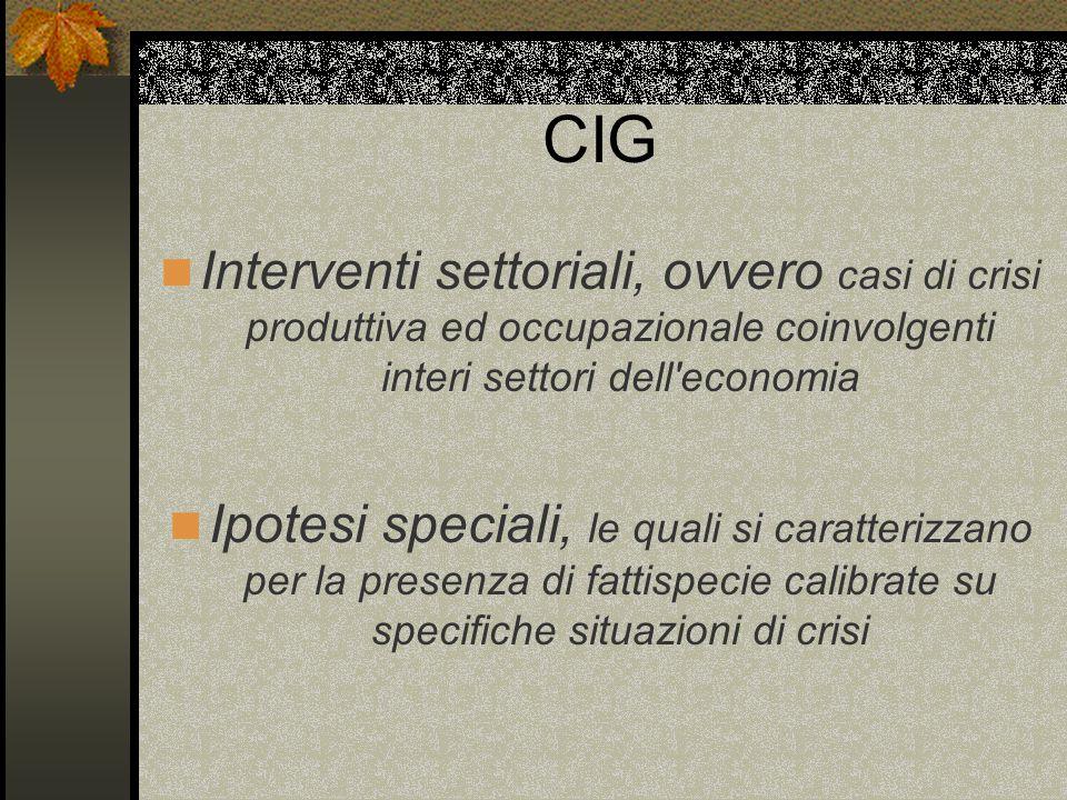 CIG Interventi settoriali, ovvero casi di crisi produttiva ed occupazionale coinvolgenti interi settori dell economia.