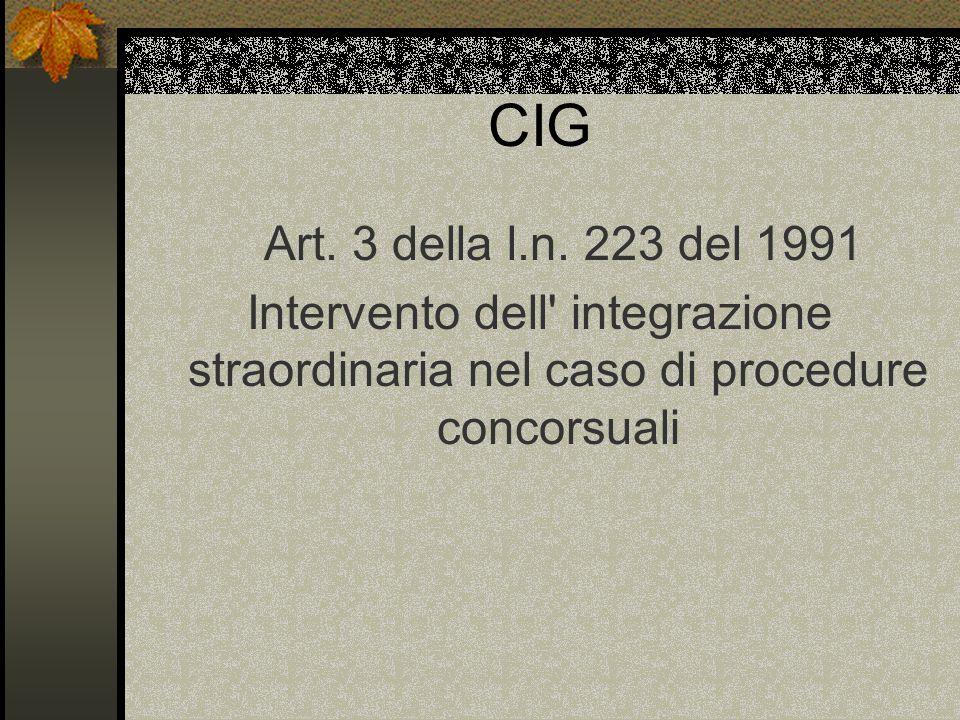 CIG Art. 3 della l.n. 223 del 1991.