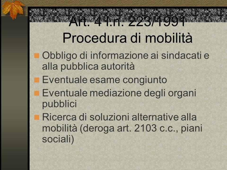 Art. 4 l.n. 223/1991 Procedura di mobilità