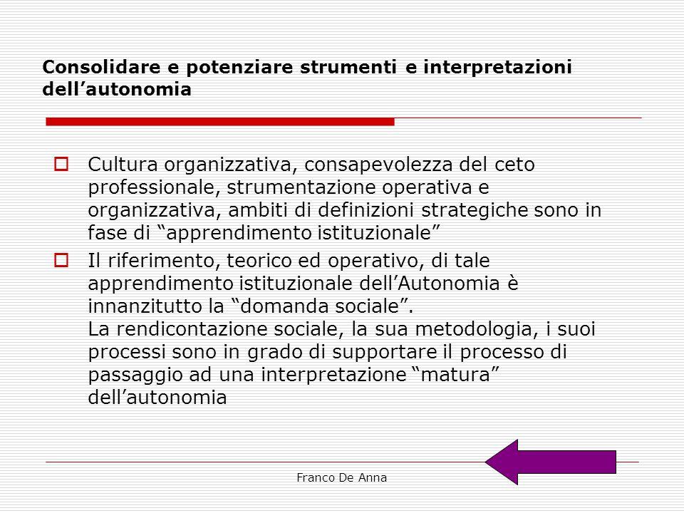 Consolidare e potenziare strumenti e interpretazioni dell'autonomia