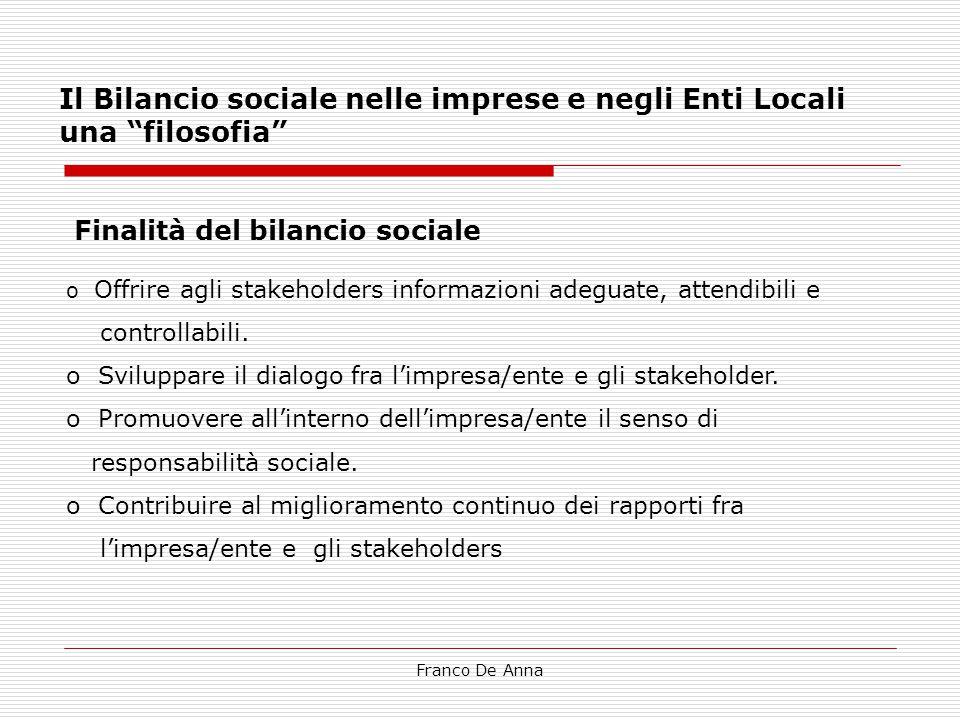 Il Bilancio sociale nelle imprese e negli Enti Locali una filosofia
