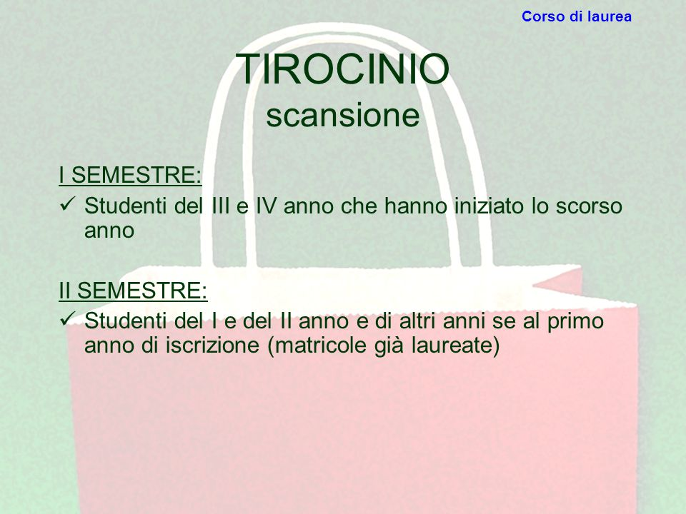 TIROCINIO scansione I SEMESTRE: