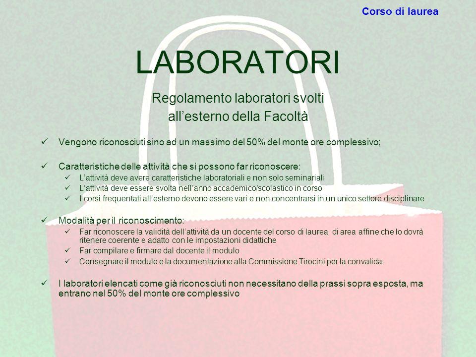 Regolamento laboratori svolti all'esterno della Facoltà