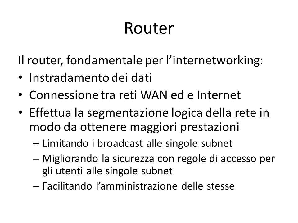 Router Il router, fondamentale per l'internetworking: