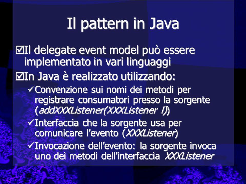 Il pattern in Java Il delegate event model può essere implementato in vari linguaggi. In Java è realizzato utilizzando: