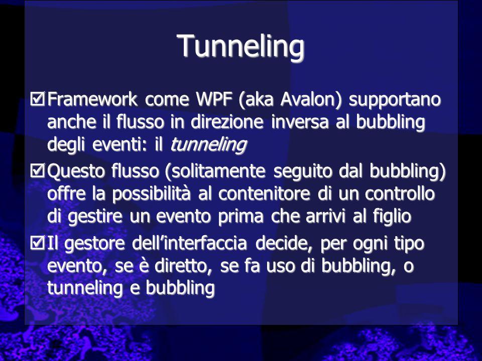 Tunneling Framework come WPF (aka Avalon) supportano anche il flusso in direzione inversa al bubbling degli eventi: il tunneling.