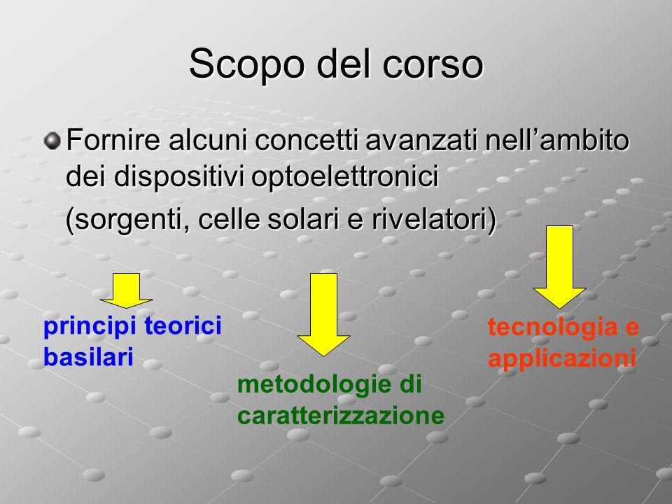 Scopo del corso Fornire alcuni concetti avanzati nell'ambito dei dispositivi optoelettronici. (sorgenti, celle solari e rivelatori)