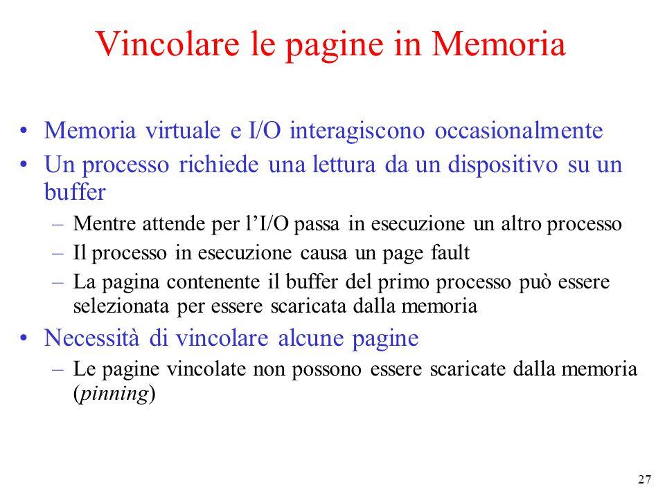 Vincolare le pagine in Memoria