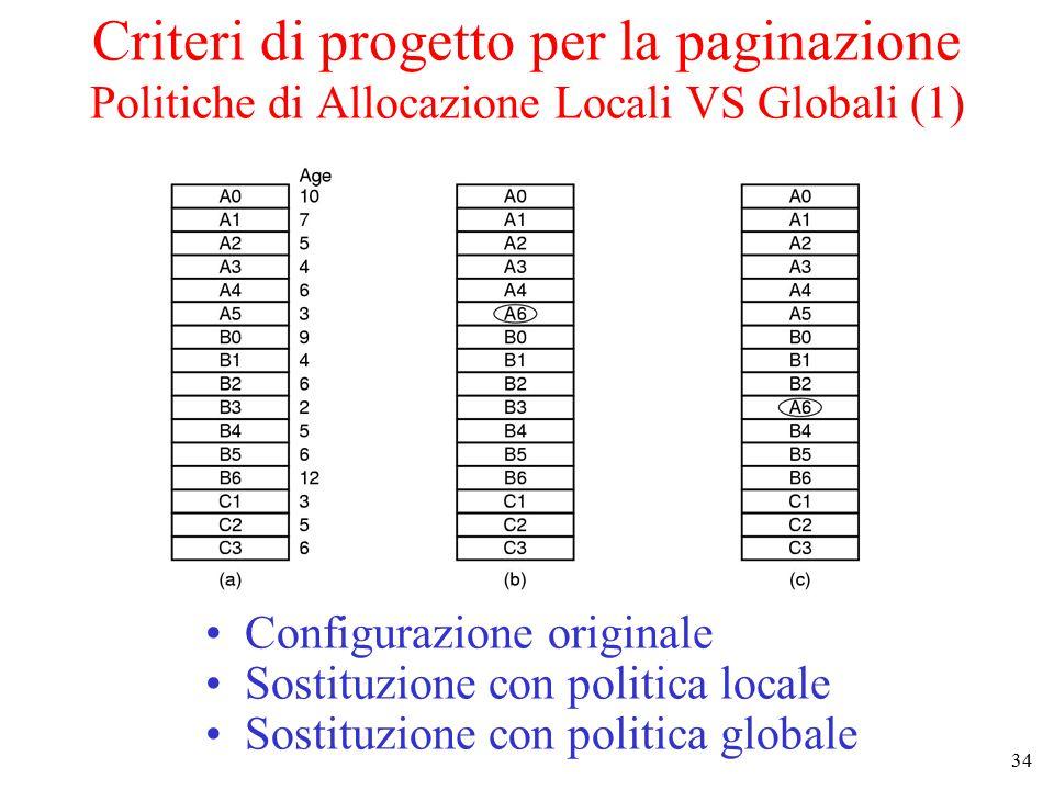 Criteri di progetto per la paginazione Politiche di Allocazione Locali VS Globali (1)