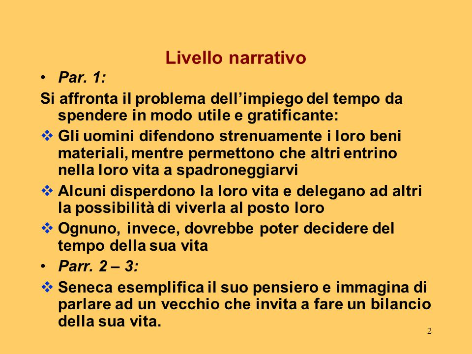 Livello narrativo Par. 1: