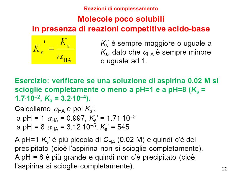 Molecole poco solubili in presenza di reazioni competitive acido-base