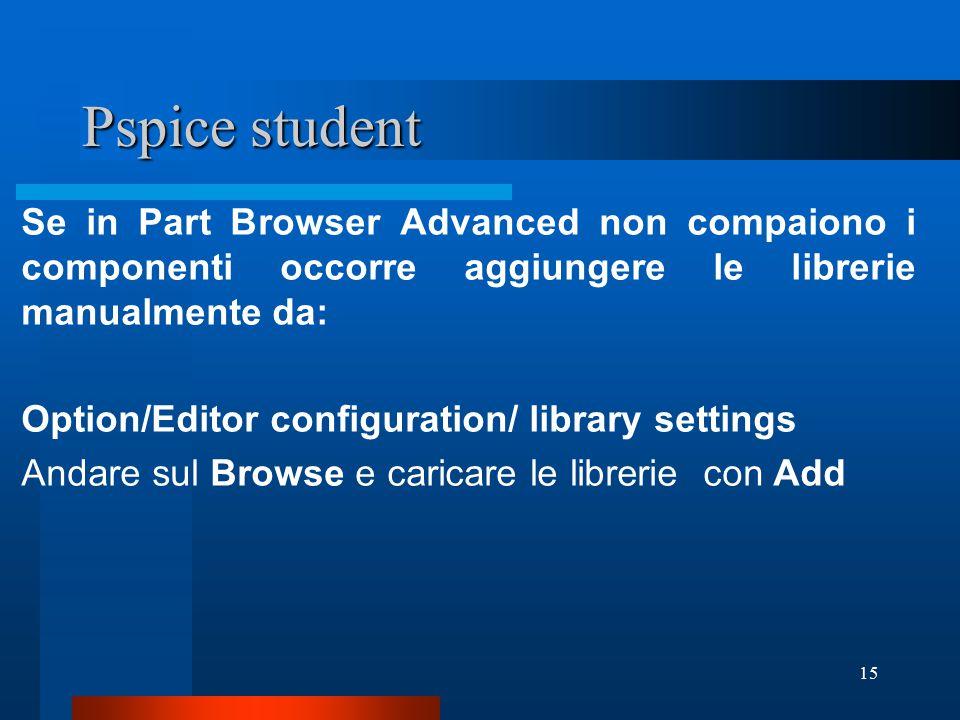 Pspice student Se in Part Browser Advanced non compaiono i componenti occorre aggiungere le librerie manualmente da: