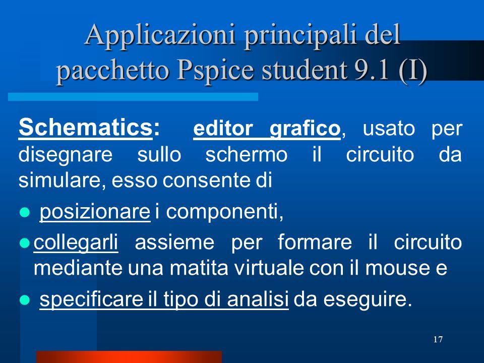 Applicazioni principali del pacchetto Pspice student 9.1 (I)