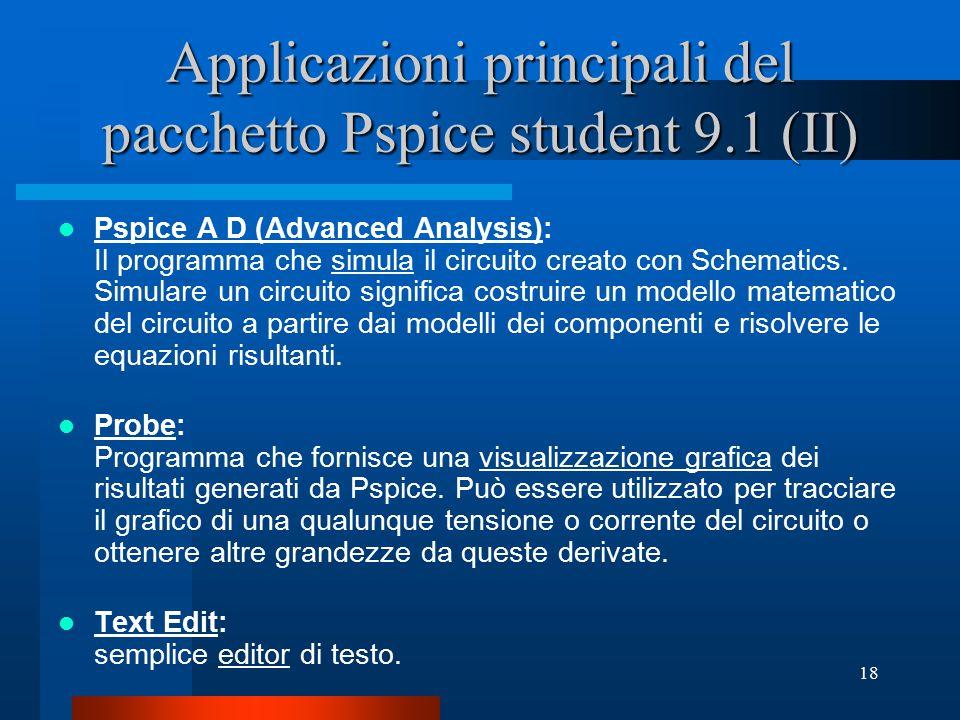 Applicazioni principali del pacchetto Pspice student 9.1 (II)