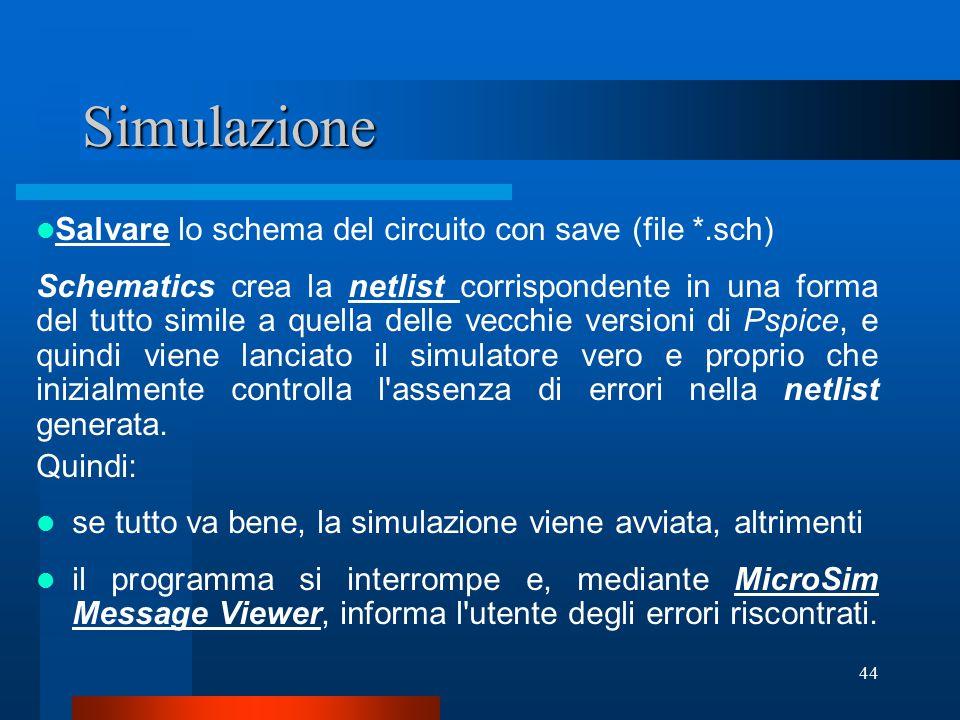 Simulazione Salvare lo schema del circuito con save (file *.sch)