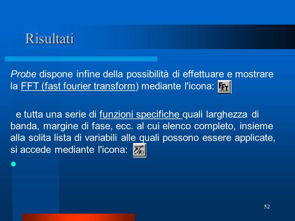 Risultati Probe dispone infine della possibilità di effettuare e mostrare la FFT (fast fourier transform) mediante l icona: