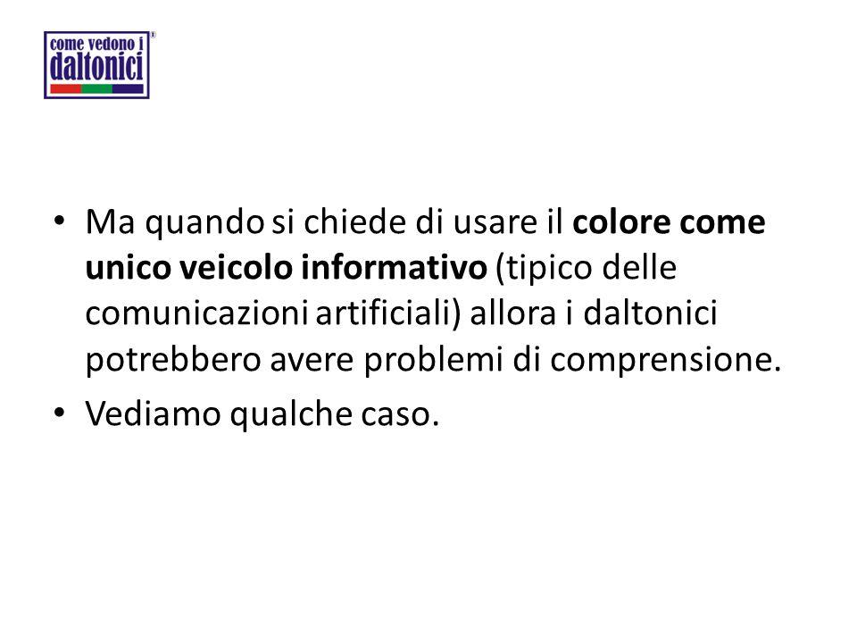 Ma quando si chiede di usare il colore come unico veicolo informativo (tipico delle comunicazioni artificiali) allora i daltonici potrebbero avere problemi di comprensione.